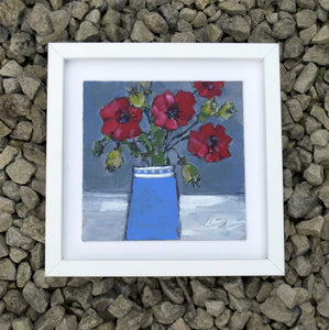 Red poppies, blue vase - Original painting