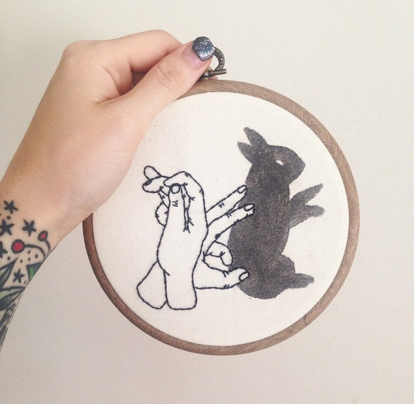 Rabbit hand shadow puppet - Wall hanging