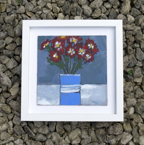 Red daisies, blue vase - Original painting