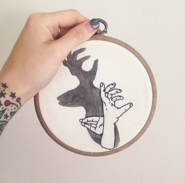 Stag hand shadow puppet - Wall hanging
