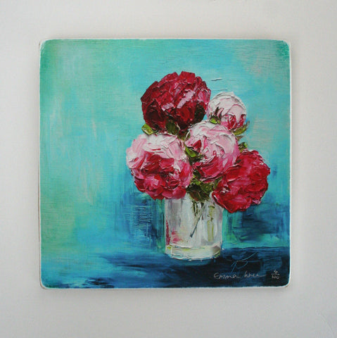 Turquoise peonies - Limited edition giclee print