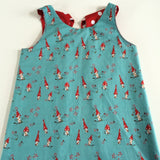 Funky Monkey Smock Dress - Turquoise Toadstools