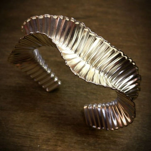Silver wave corrugated cuff bangle