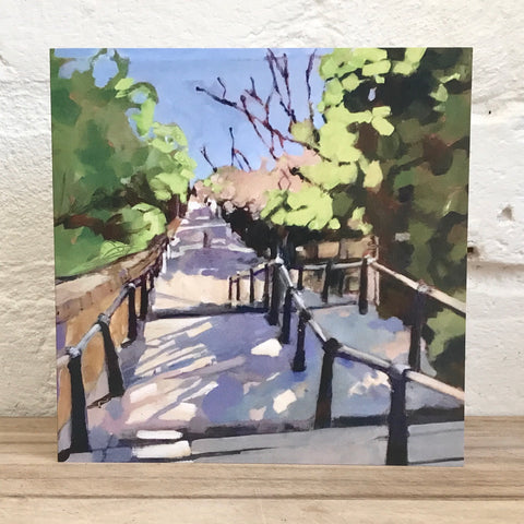 Leigh Church Steps Greetings Card