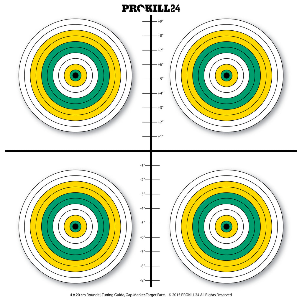 Target Face - 4 x 20 cm Green & Yellow Roundels