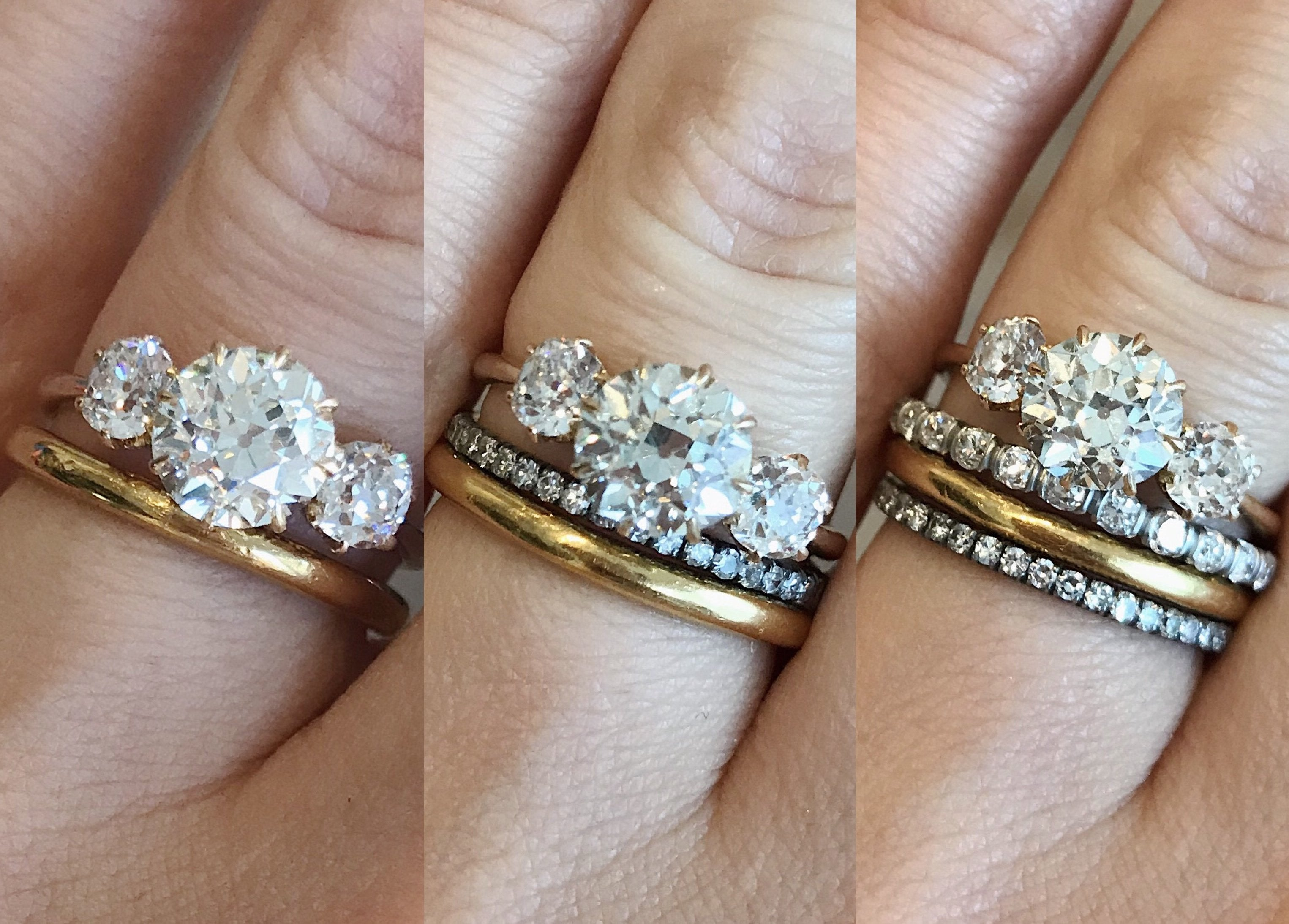Engagement Ring And Wedding Band.Stacked Wedding Bands With Three Stone Engagement Ring