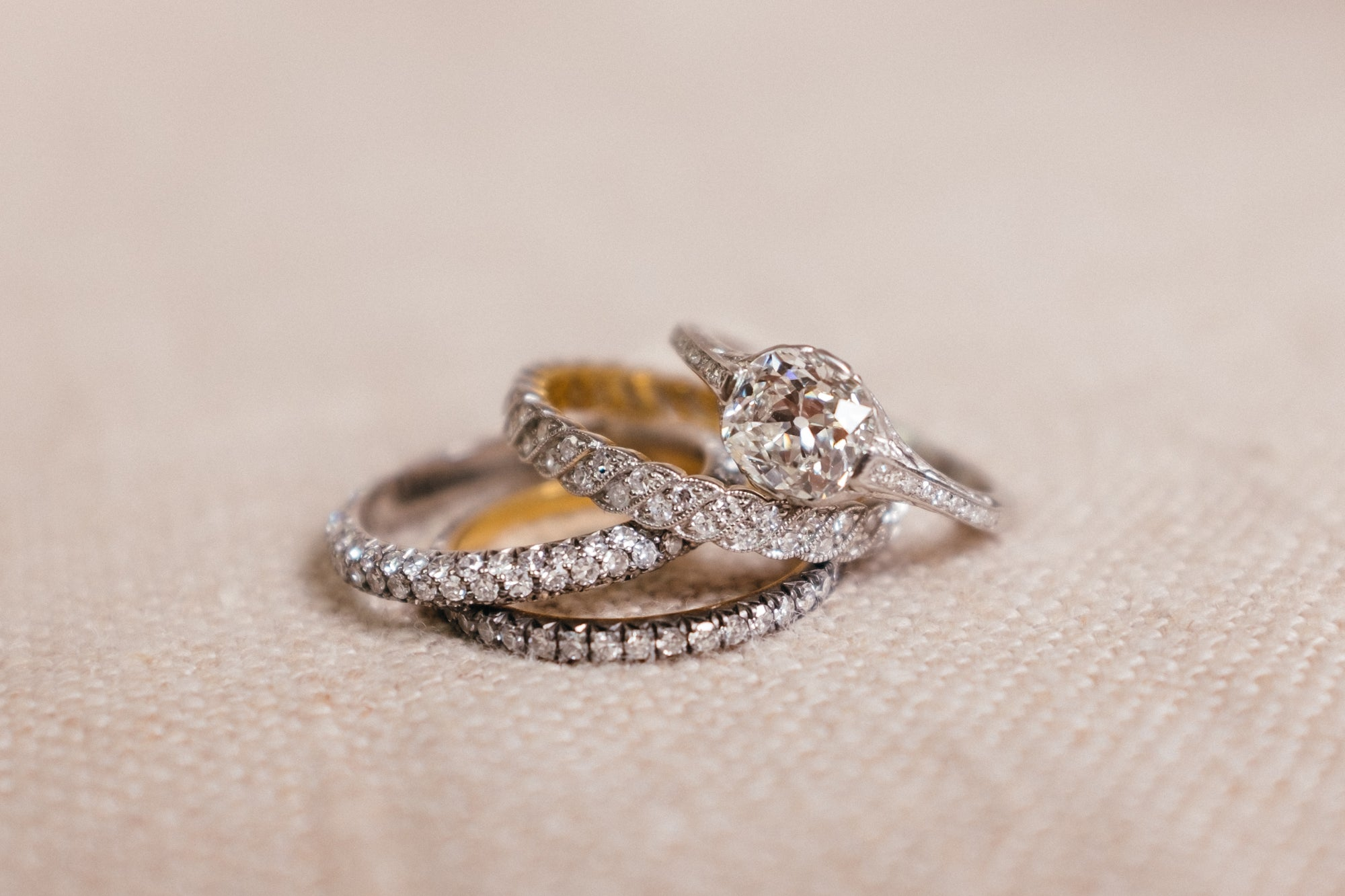 vintage engagement ring and wedding band