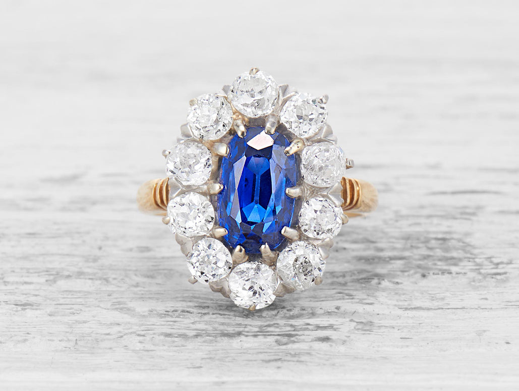 vintage-sapphire-cluster-engagement-ring