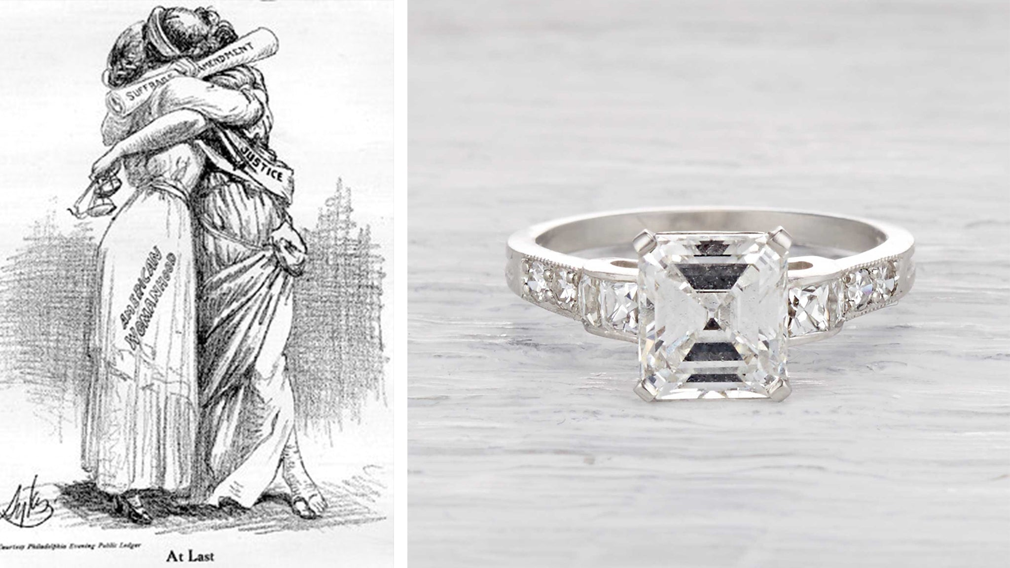 Art Deco Ring Worn by Woman in the 1920s