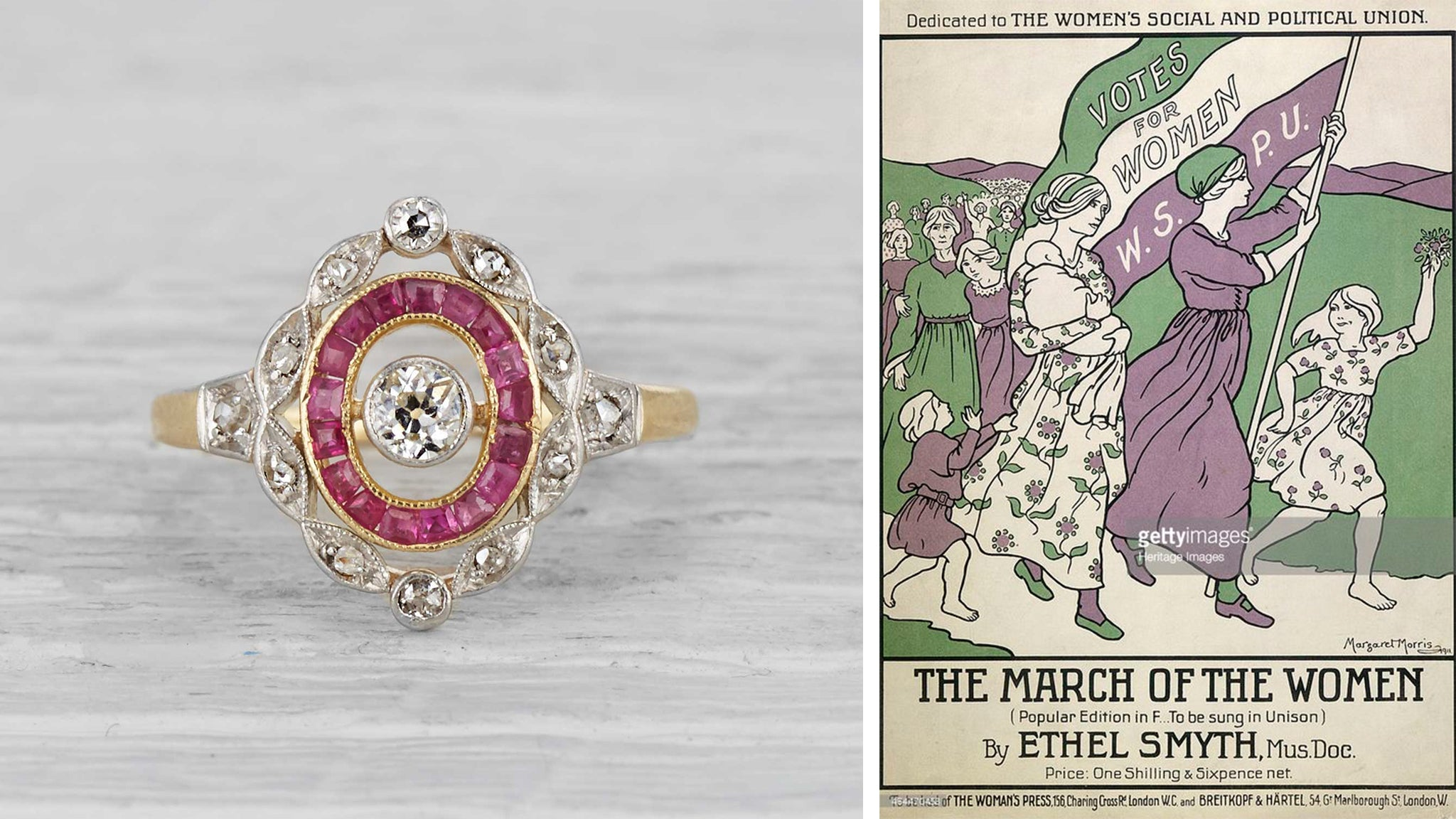 Edwardian Ring Worn by Woman in 1910