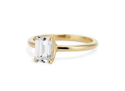 Emerald Cut Four Prong Solitaire