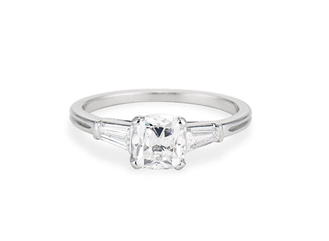 Mid Century 1.03 Carat Cushion Cut Diamond Solitaire Engagement Ring