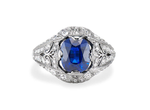 Art Deco T.B. Starr 2.45 Cushion Cut Sapphire in Platinum Ring, America
