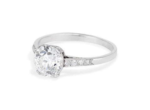 1920s 1.69 Carat Old European Cut Diamond Solitaire