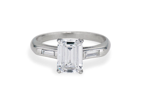 1940s 1.50 Emerald-Cut Diamond and Platinum Engagement Ring