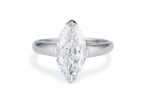 1950s 2.01 Marquise-Cut Diamond and Platinum Solitaire Engagement Ring
