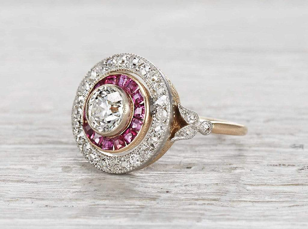 .80 Carat Edwardian Diamond and Ruby Ring