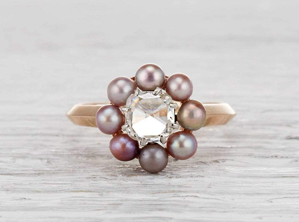 .85 Carat Victorian Diamond and Pearl Cluster Ring