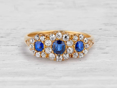 Antique Victorian Sapphire and Diamond Gold Three Stone Engagement Ring