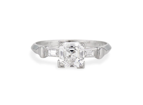Art Deco 1.04 Asscher Cut Diamond Engagement Ring
