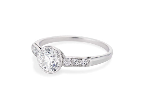 Art Deco 1.04 Carat Old European Cut Diamond Ring