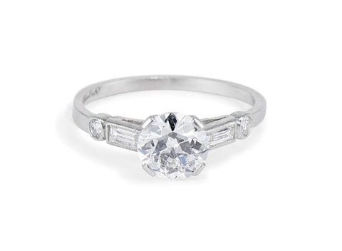 Art Deco 1.05 Carat Old European Cut Diamond Ring