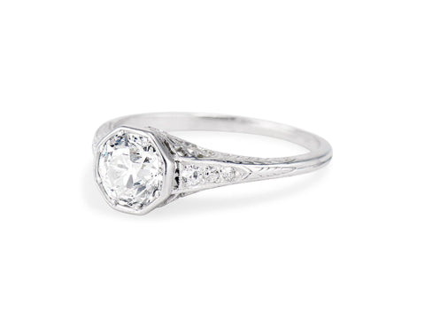 Art Deco 1.10 Carat Old European Cut Diamond Solitaire Engagement Ring