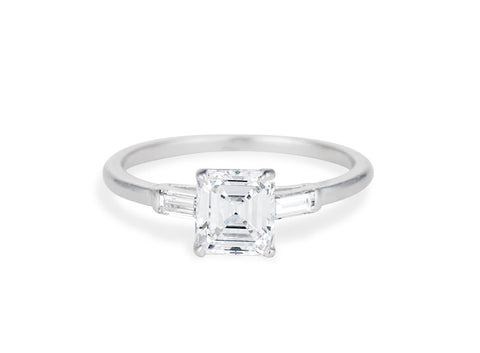 Art Deco 1.11 Carat Emerald Cut Diamond Engagement Ring