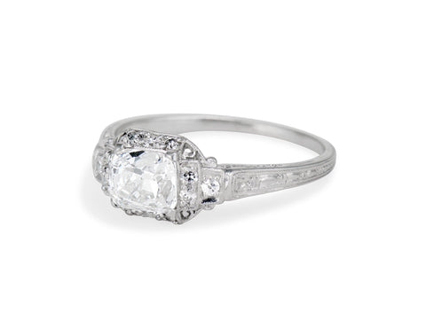 Art Deco 1.16 Carat Old Mine Cushion Cut Diamond Engagement Ring