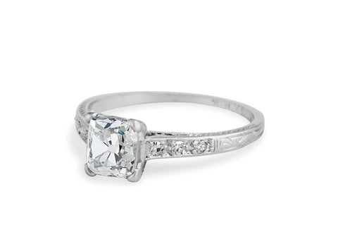 Art Deco 1.16 Cushion Cut Diamond Engagement Ring
