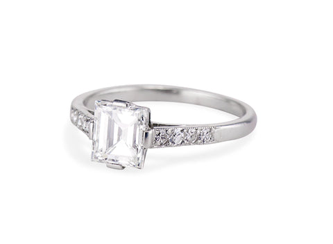 Art Deco 1.17 Rectangular Step Cut Diamond Engagement Ring