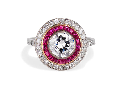 Art Deco 1.20 Carat Diamond & Ruby Target Ring
