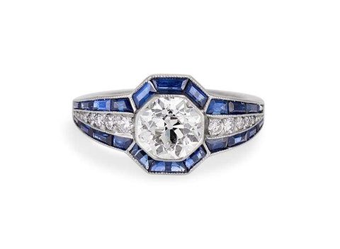 Art Deco 1.35 Carat Old European Cut Diamond & Sapphire Ring