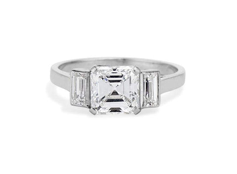 Art Deco 1.52 Carat Asscher Cut Diamond Ring
