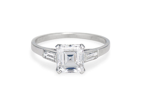 Art Deco 1.52 Square Emerald-Cut Platinum Engagement Ring
