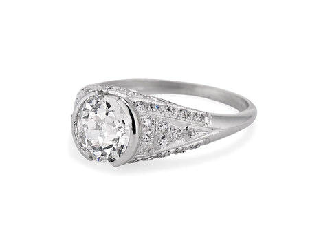 Art Deco 1.57 Carat Old Mine Cushion Diamond Ring