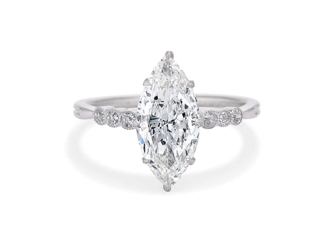 Art Deco 1.66 Carat Marquise Diamond Ring