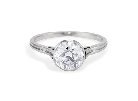 Art Deco 1.67 Carat Old European Cut Bezel Set Diamond Solitaire