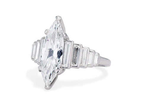 Art Deco 1.83 Carat Marquise Diamond Ring