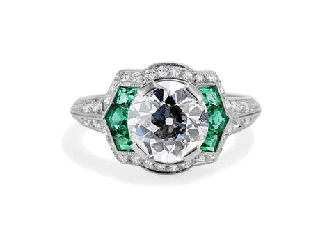 Art Deco 2.12 Carat Diamond & Emerald Ring