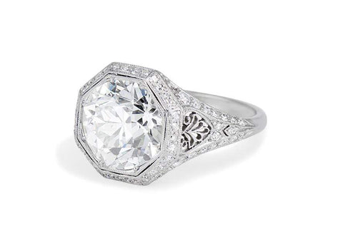 Art Deco 3.47 Carat Old European Cut Diamond Filigree Ring