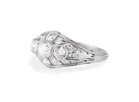 Art Deco Gorham Co. Three Stone Diamond and Platinum Filagree Dome Ring