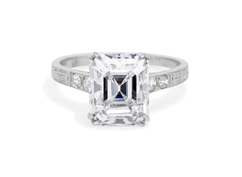 Art Deco 4.02 Carat Emerald Cut Diamond Ring