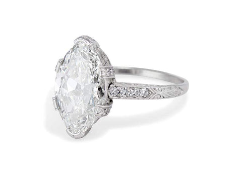 Art Deco 4.02 Carat Marquise Cut Diamond Ring