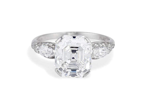 Impressive Art Deco 4.77 Carat Asscher Cut Diamond Ring