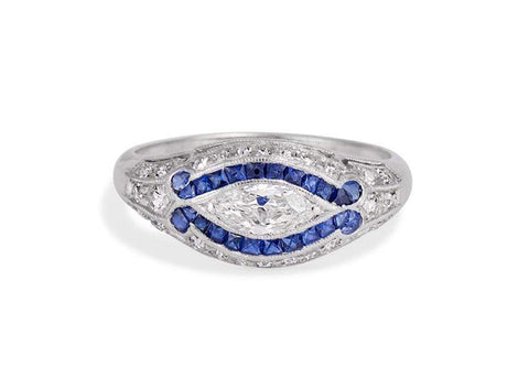 Egyptian Revival Art Deco .40 Carat Marquise Diamond & Sapphire Ring