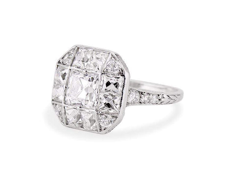 Art Deco .75 Carat French Cut Diamond Ring