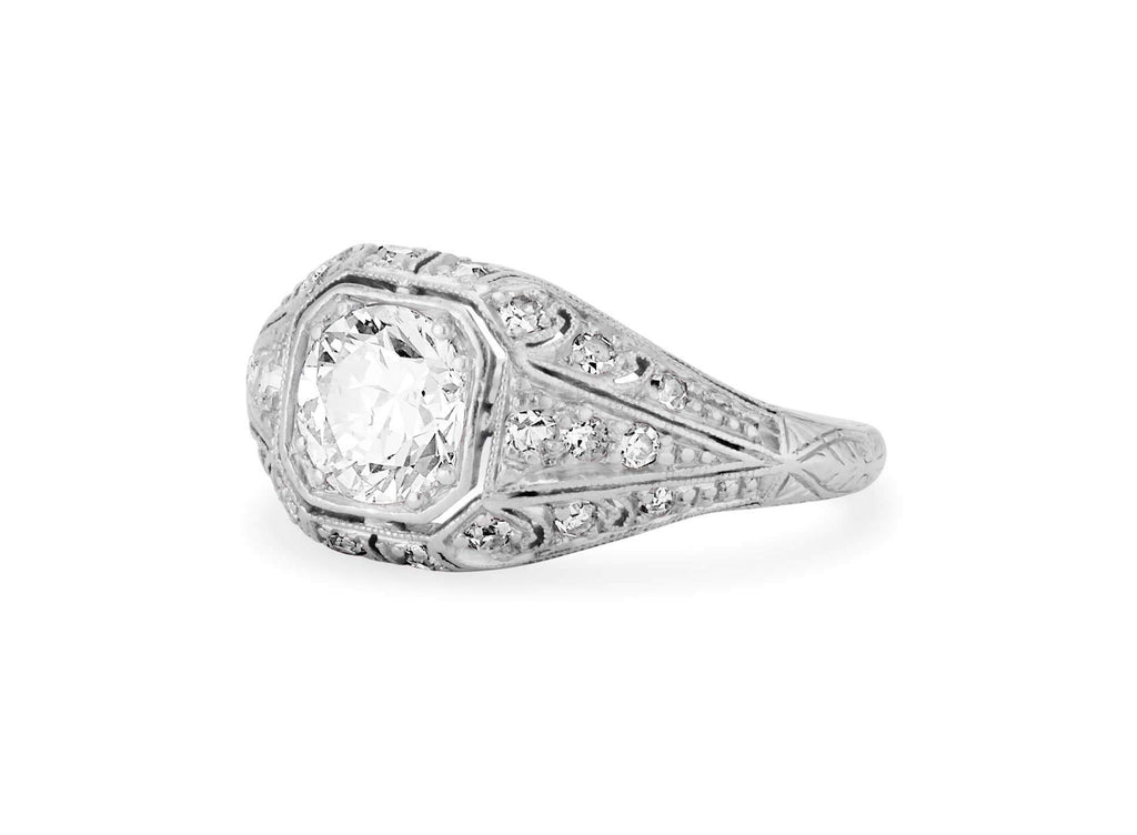 Art Deco .75 Carat Transitional Cut Diamond Filigree Ring