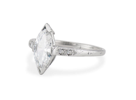 Art Deco .77 Carat Marquise Diamond Solitaire Engagement Ring