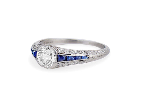 Art Deco .80 Carat Diamond & Sapphire Filigree Ring